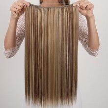 MANWEI24 дюймов длинные волнистые синтетические наращивание волос линии рыбы клип в один кусок на Omber естественных женщин шиньоны