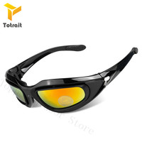 TOtrait C5 Army Goggles Desert Storm 4 Lens Outdoor Military Hunting Sunglasses Anti For Desert War Game Tactical Glasses|Cycling Eyewear| |  -