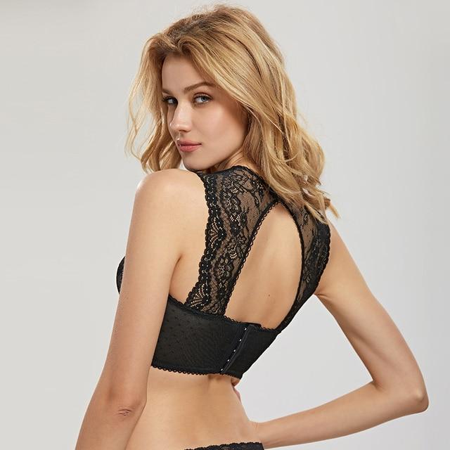 DOBREVA Women's Mesh Bustier High-neck Lightly Lined Underwired Bra Top 4