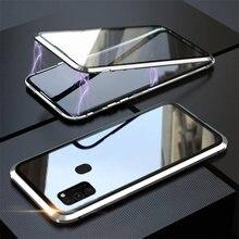 Двухсторонняя Магнитная 360 Защитный противоударный чехол для Samsung A21s A11 A31 A41 A51 A71 M30s M21 A50 A70 S20 S10 S9 S8 крышку из закаленного стекла