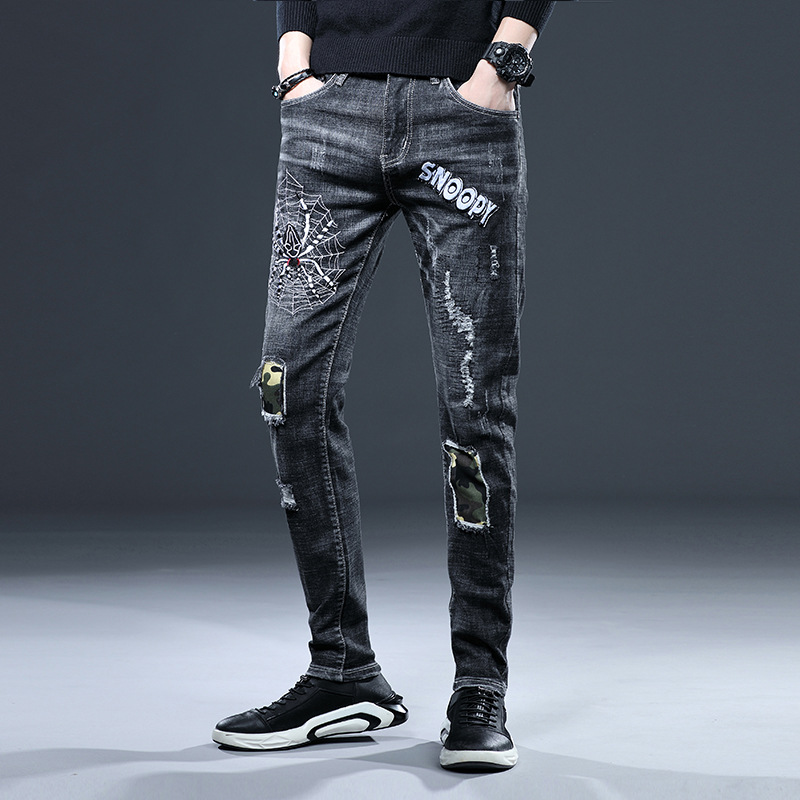 2019 Autumn New Arrival Spider Embroidered Cool Casual Slim Fit Fashion Jeans Men With Holes Elasticity Skinny Pants
