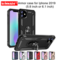 10 pcs/bag Luxury Armor Case For iphone 2019 5.8 6.1 inch magnet Car Holder Ring Case for iphone 2019 Soft Shockproof cover