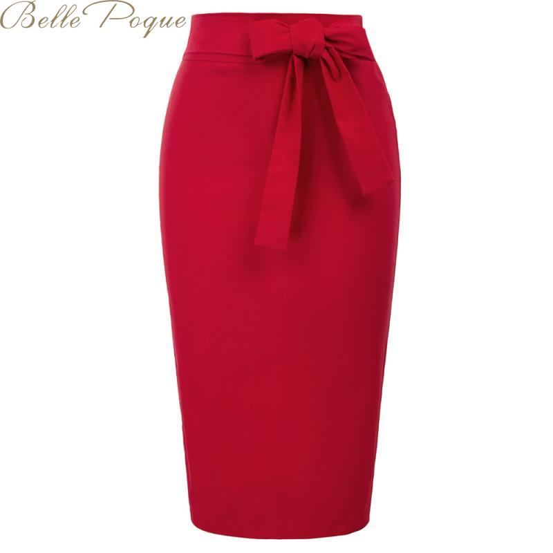 Belle Poque Casual Skirts Women Pencil Skirts A-line Retro Elegant Vintage High Waist Skirks Female Work Office Ladies Skirt