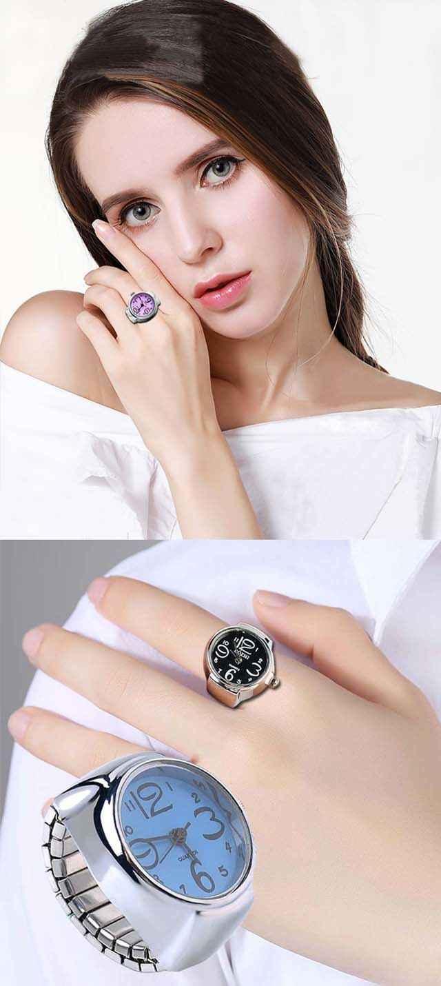 Bague de doigt montre femmes/fille élégant en acier cadran rond élastique Quartz bague avec montre femme anneau Mini taille cadeau pour étudiant
