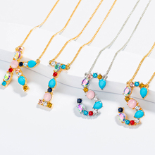 Multicolor Fashion Charm Gold 26 Alphabet Pendant Necklace Micro Pave Zircon Initial Letter Necklaces Couple Name Holiday Gift