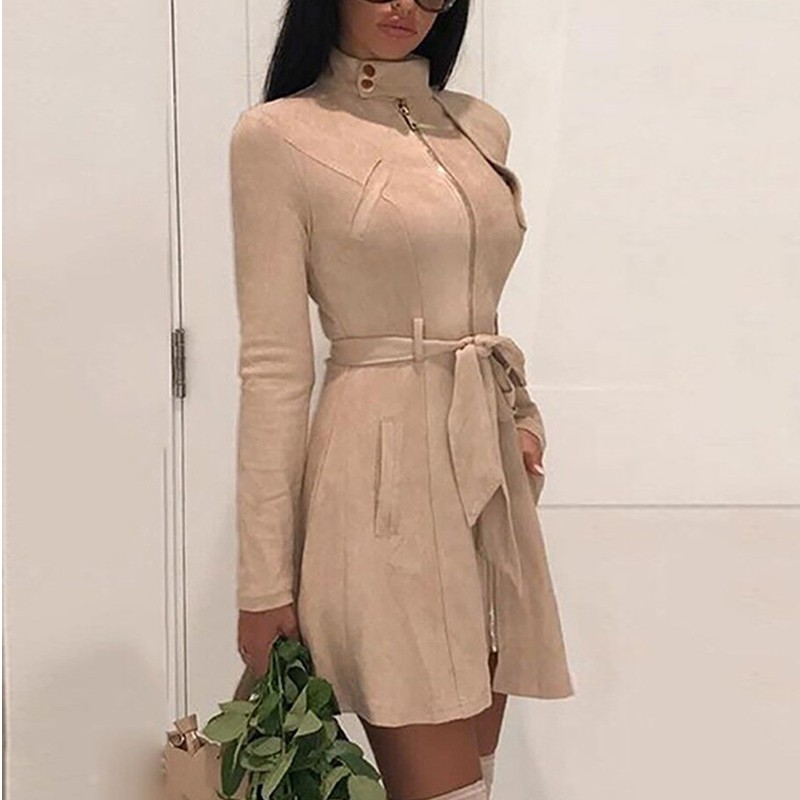 DeRuiLaDy 2020 New Spring Women Suede Solid Color Casual Dress Fall Elegant Belt Womens Zipper Spliced Mini Dresses Long Coat