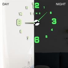 3D светящиеся большие настенные часы зеркальные настенные наклейки Diy Декор для дома в гостиную модные часы поступление кварцевые большие настенные часы