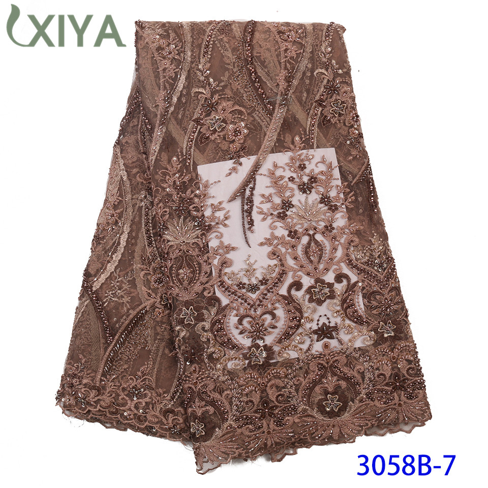 Heavy Beaded Lace For Bridal Lace Materials Luxury Handmade Beads Lace Africa French Tulle Mesh Lace Fabrics With Beads APW3058B