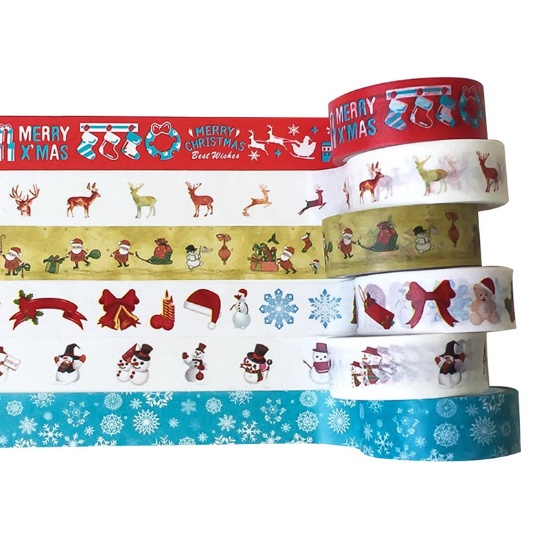 1.5cm*5m Decorative Christmas Washi Tape Set DIY Scrapbooking Adhesive Tape Masking Tape School Office Supply
