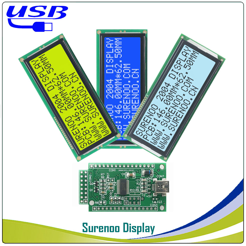 LCD2USB USB 204 20X4 2004 Larger Character LCD Module Display Screen Panel Sutible LCD Smartie & AIDA64 For DIY PC