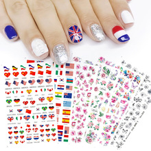 1 pcs Nail Sticker Classic 3D Hot Style Floral black butterfly DIY Slider  for Manicure Nail Art Watermark Manicure Decor