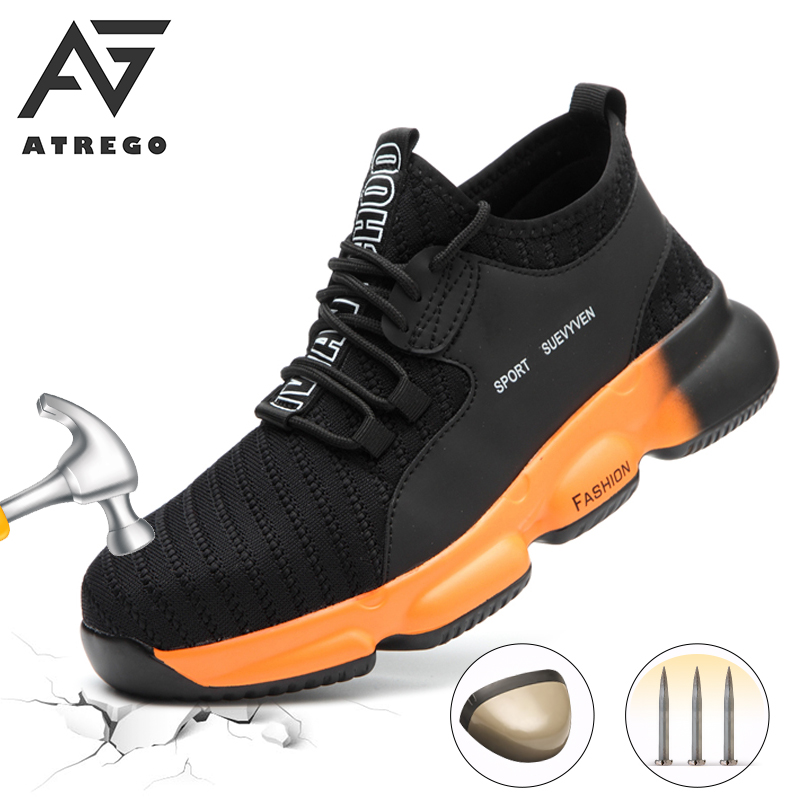 AtreGo Fashion Work Safety Shoes Sneaker Ultra-light Soft Bottom Men Breathable Anti-smashing Puncture-Proof Steel Toe Work Boot