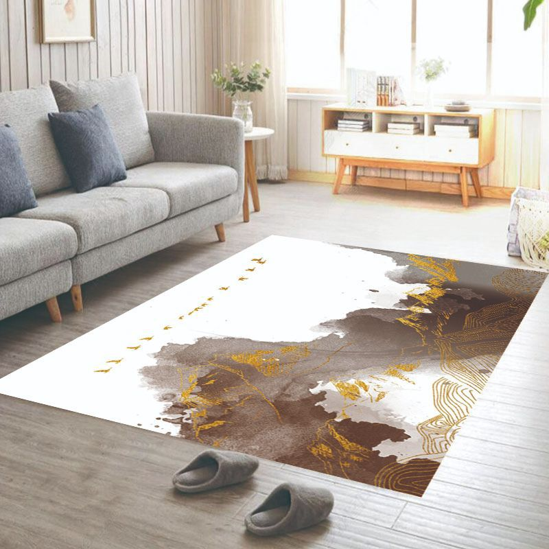 Retro Pattern Area Rectangle Carpet Chair Floor Mat Living Room Soft Carpet Anti-slip Carpet Bedroom Decorative Carpet