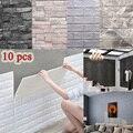 10 Pcs 3D Wand Aufkleber Selbst-Kleber Fliesen Wasserdichte Schaum Panel Wohnzimmer TV Hintergrund Schutz Baby Tapete 38*35cm