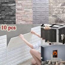 10 pçs 3d adesivos de parede auto-adesivo telha painel de espuma à prova dwaterproof água sala tv proteção de fundo papel de parede do bebê 38*35cm