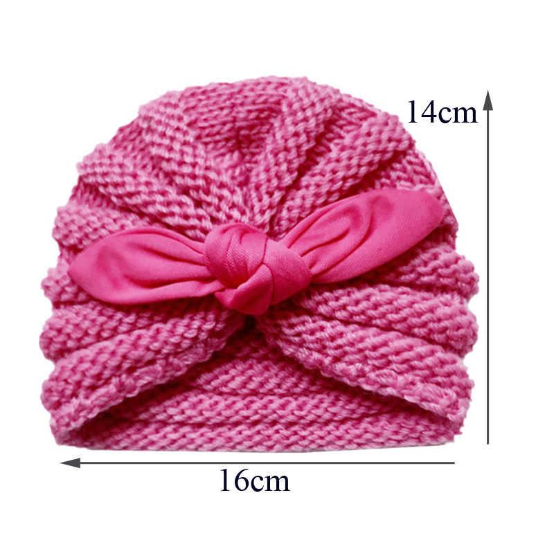 סרוג חורף תינוק כובע עבור בנות צבעים בוהקים מצנפת Enfant תינוק כפת טורבן כובעי יילוד תינוק כובע עבור בני אבזרים