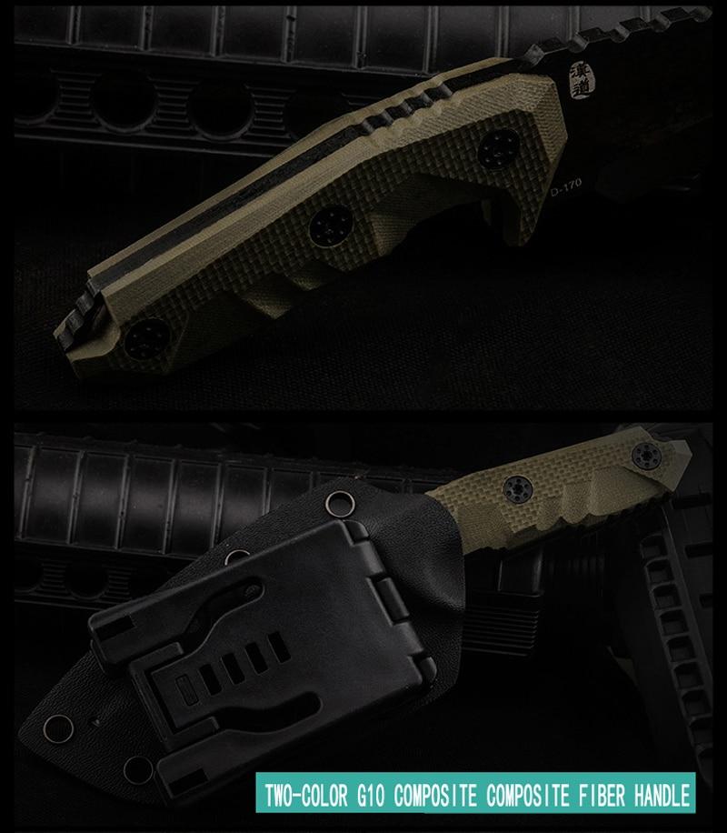 HX OUTDOORS D2 nůž G10 rukojeť D2 ocelová čepel taktický rovný - Ruční nářadí - Fotografie 5
