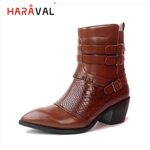 HARAVAL Luxury Woman Classic Ankle Boots High Quality Pointed Toe Square Heel Shoes Retro Buckle Warm Casual Zipper Winter Boot