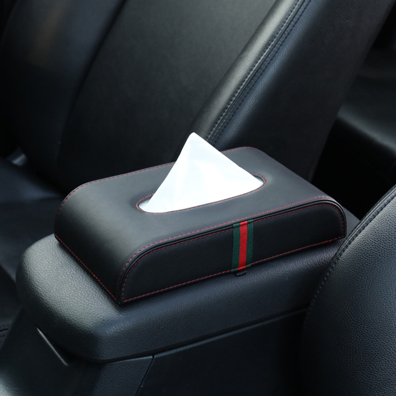 Car Tissue Box Seat Type Armrest Box Fixed Car Paper Extraction Box Creative Car Put Napkin Box Interior Trim Supplies