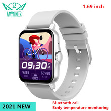 AMYNIKEER 2021 New Smart Watch Bluetooth Call Heart Rate Blood Pressure Body Temperature Monitoring 1.69 Inch Color Screen PK P8