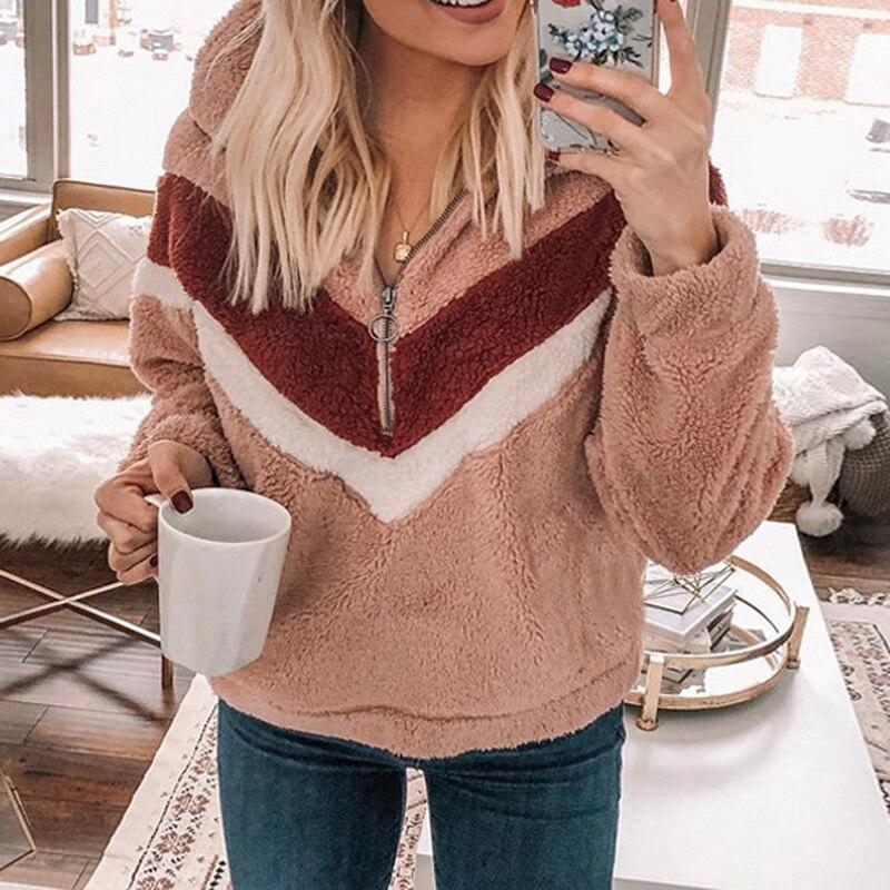 OEAK 2019 Autumn Winter Women Pullover Fleece Long Sleeve Half Zipper Patchwork Jackets Coat Lapel Plush Warm  Loose Tops