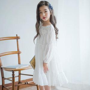 Image 2 - Menina vestido de manga longa branco vestidos de renda para meninas floral bonito vestido de princesa crianças primavera verão vestido de festa roupas