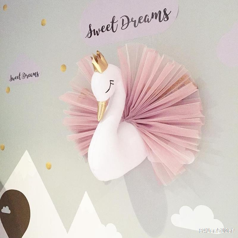 INS's New Crown Swan Animal Head Wall Wall Trimbaby Doll Doll Children's Room Hanging,baby Girl Room Decor