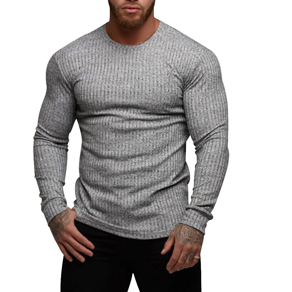2019 New Men Basic Knittwear Thin Autumn Fitness Men Long Sleeve Knitting Pullover Spring Men Sweater Casual Streetwear Gymwear