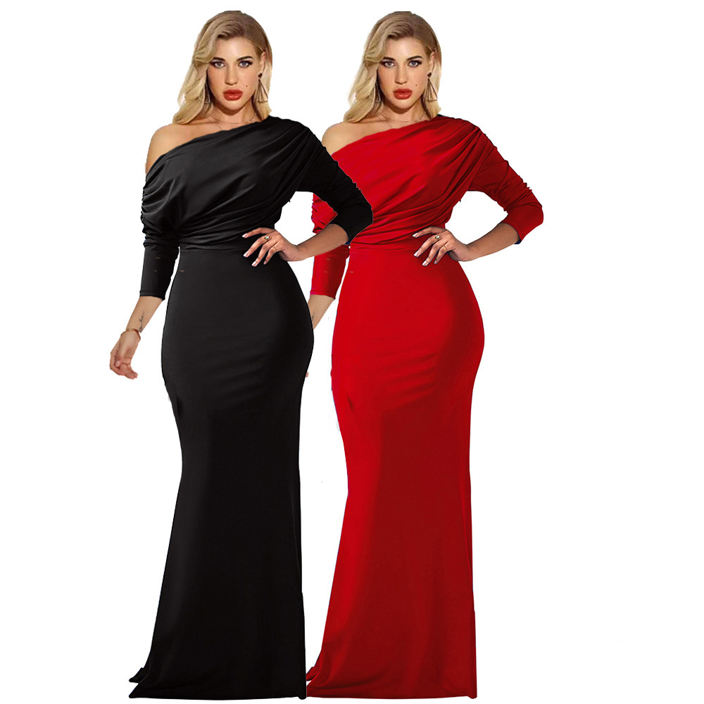 BGW 2020 20261ht One Shoulder Jersey Mermaid Black Red Evening Dresses Three Quarter Sleeves Pleat Formal Evening Gown