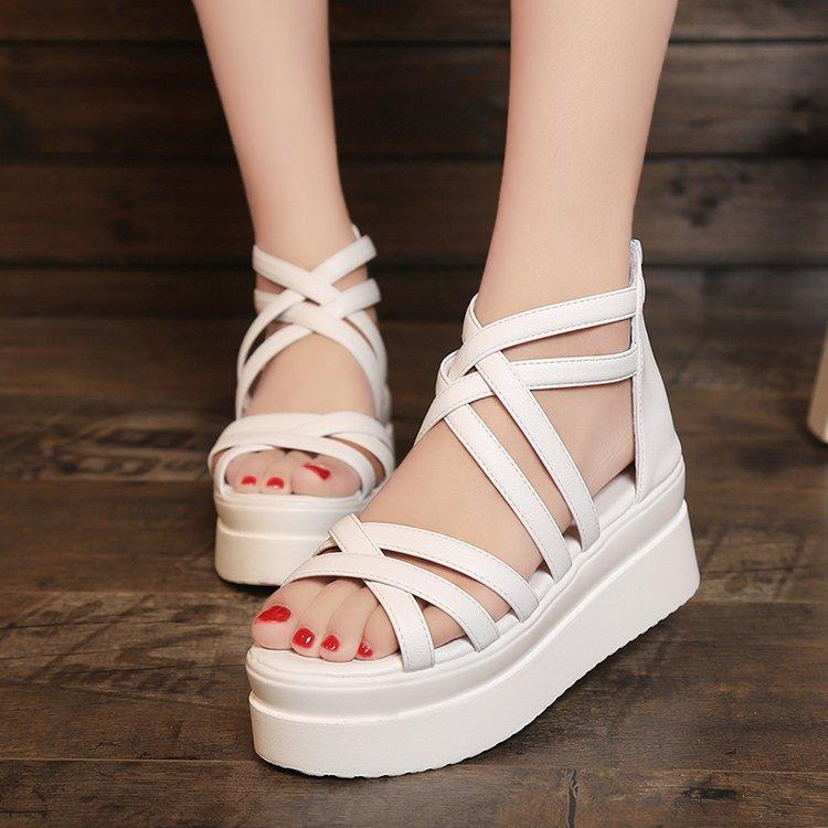 Women Summer Strappy Platform Sandals Casual Leisure Open Toe Sandals Bohemian Beach Sandals