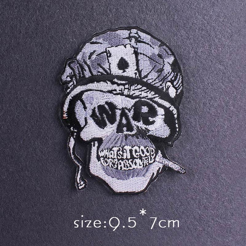 Skull Patch Zombie Bride Embroidered Patches For Clothing Iron On Patches Clothes Applique Stickers Punk Patch Sewing Supplies-3
