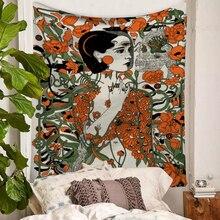 Nordic Fashion Wall Hanging Tapestry Watercolor Banshee Printed Macrame Home Background Decor Shawl Blanket Yoga Mat