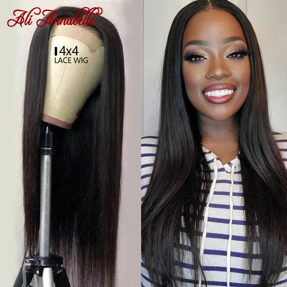 Ali Annabelle Lace Closure Wig 4x4 Front Lace Wig Straight Lace Front Wig Pre Plucked Hairline Malaysian Human Hair Straight Wig