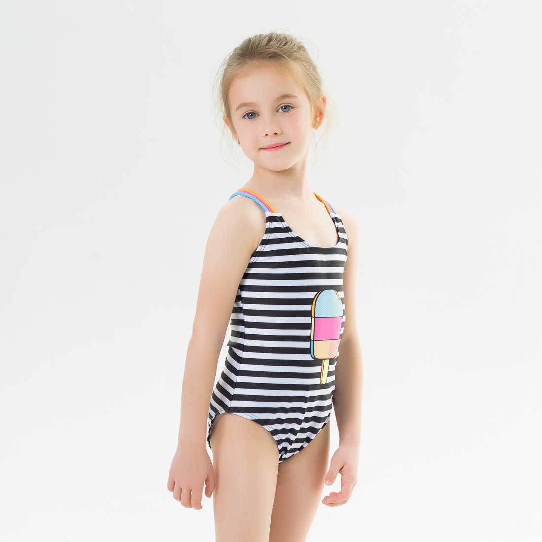 2020 nova menina do bebê maiô uma peça de banho estilo clássico bodysuit listrado maiô para a menina sorvete
