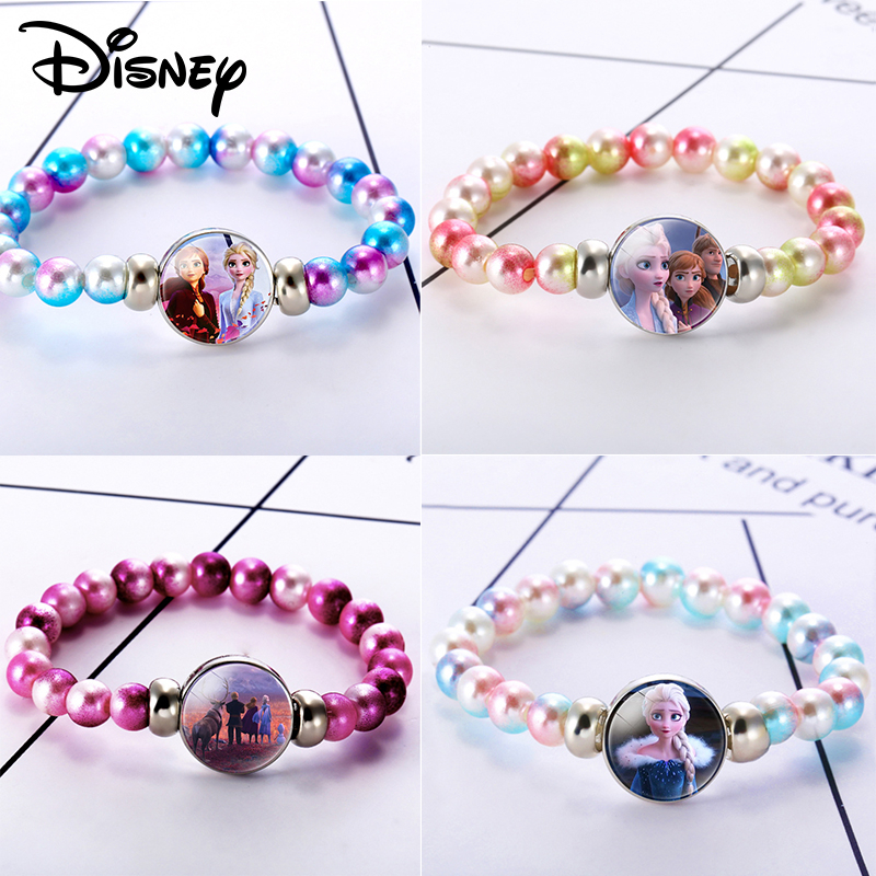 Frozen 2 Girls Jewelry Toys Fashion Girls Princess Crystal Beaded Bracelet Character Theme Children Kids Party Birthday Gift