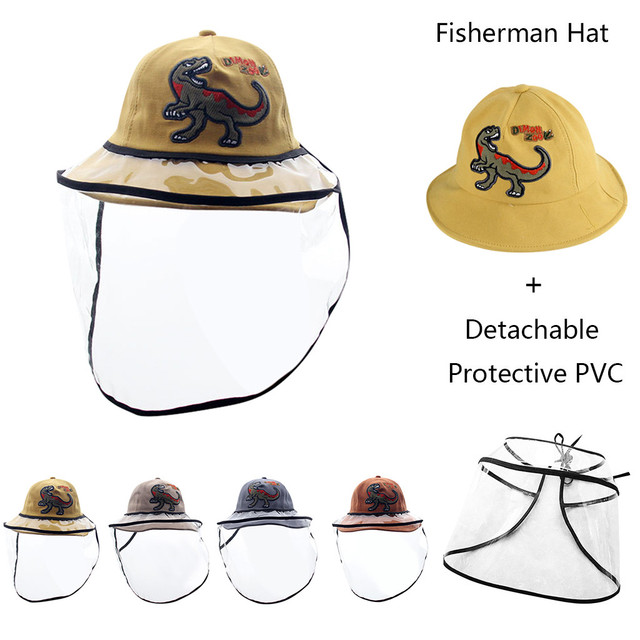 SUPPION Kids Boys Girls Splash Proof Anti-Spitting Protective Hat Cute Ball Printing Dustproof Cover Fisherman Cap Hat