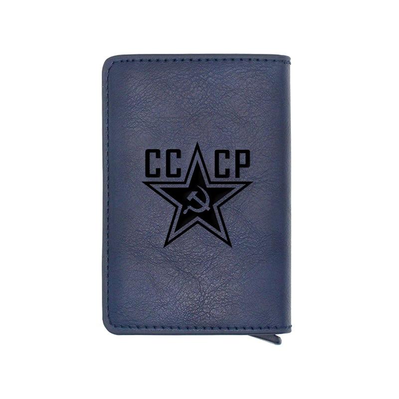 Antique Brown Classic CCCP Design Card Holder Wallets Men Women Rfid Leather Short Purse Slim Mini Wallet Small Money Bag