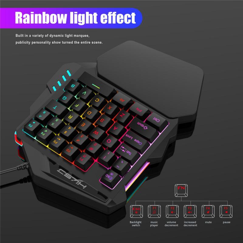 V100 1.6m One-Handed RGB Mechanical Gaming Keyboard 35 Keys Blue Switch LED Left Hand Mini Keypad For Mobile Game Dropshipping