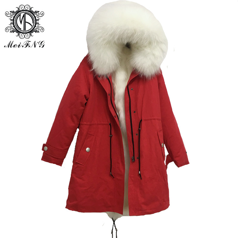 za 2019 Fashion Military Red Men Winter Warm Long Jackte Real Fox Fur Genuine Leather Coat S-4XL