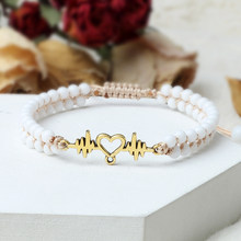 Stainless Steel Heartbeat Bracelet Natural 4mm Beads Stone Braided Double Layers Bangles Women Girl Fashion Rope Yoga Jewelry
