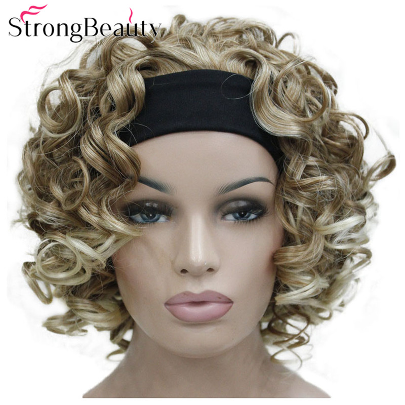 StrongBeauty Short Curly Synthetic Wigs With Headband Women Black/Red/Blonde/Brown Wigs 3/4 Half Wig For Lady