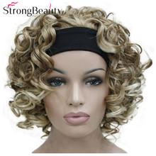 StrongBeauty krótkie peruki syntetyczne z kręconymi włosami z pałąkiem na głowę kobiety niebieski/szary/czarny/czerwony/blond/brązowy peruki 3/4 półperuka dla pani