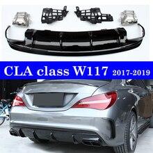 ABS Rear Diffuser Bumper Lip With Exhaust Tip For Mercedes-benz CLA Class W117  CLA45 CLA180 CLA200 CLA250 Facelift 2017-19 цена