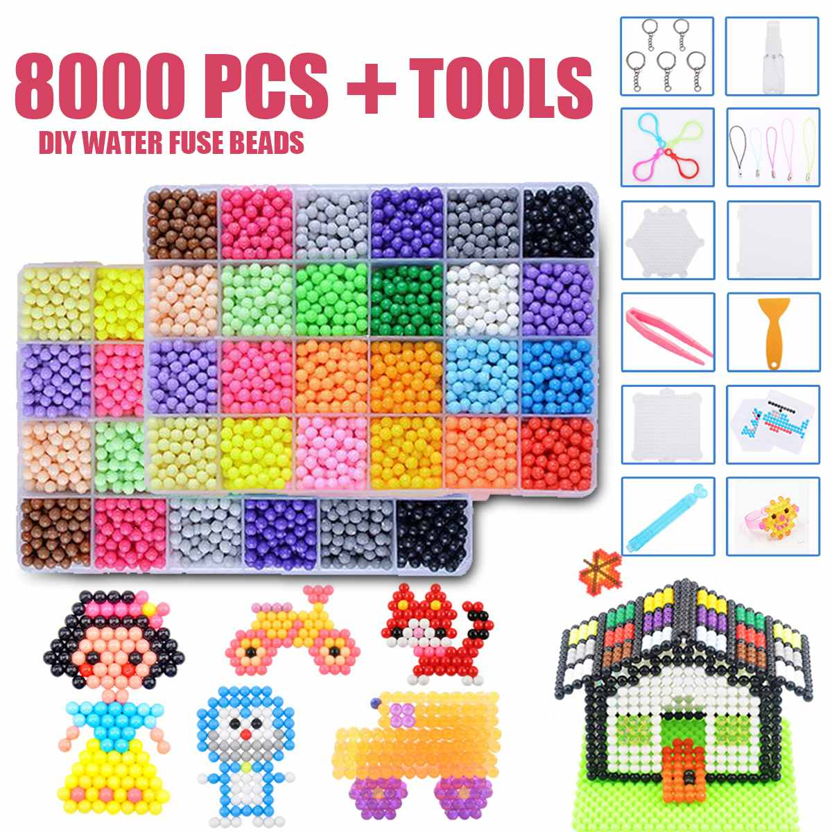 8000pcs DIY Water Sticky Fuse Beads Plastic Toys For Children Educational Learning Funny Toys Crafts Birthday Gift For Kids