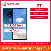 "ROM Global OnePlus 7T 8GB RAM 128GB ROM Fulid AMOLED 6,55 ""Smartphone 90Hz Snapdragon 855 Plus NFC UFS 3,0 48 MP Triple cámaras"