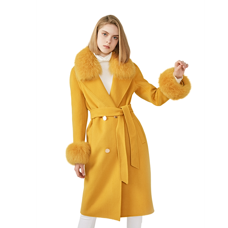 MAOMAOFUR Cashmere Wool Coat  Real Fox Fur Collar Cuff  Jacket With Belt Winter Autumn Ladies  Wool Coat