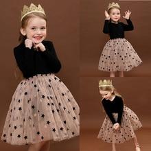 Детское кружевное праздничное платье с длинными рукавами для девочек платья-пачки со звездами на день рождения повседневная одежда для детей 3, 6, 8 лет, Vestidos