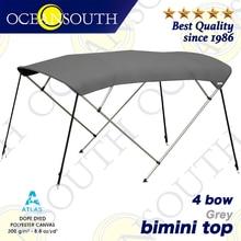 Oceansouth 4 Bow Bimini 1.5 2.9m 25mm 알루미늄 튜브 해양 그레이드 보트 커버 탑 캐노피 워터 썬 프로텍션 UV 프로텍션 그레이
