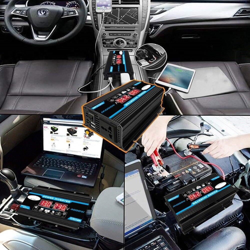 lowest price New 4000W 12V 220V 110V LED Ac Car Power Inverter Converter Charger Adapter inversor Dual USB Transformer Modified Sine Wave