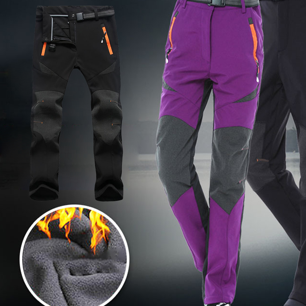 Outdoor Hiking Camping Walking Sports Warm Fleece Pants Softshell Windproof Climbing Quick Dry Winter Lined Women Ski Trousers